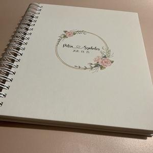 Polaroid fotókönyv , Vendégkönyv, Fotóalbum, Virágkoszorúval, Egyedi esküvői logóval, Személyre szóló, Spirálozott, Esküvő, Emlék & Ajándék, Vendégkönyv, Papírművészet, Letisztult, romantikus elegáns. És egyedi - személyre szabottan, neveitekkel készül ....Matt, natúrf..., Meska