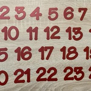 Adventi számok, formavágott, nagyobb méretű, Otthon & Lakás, Karácsony & Mikulás, Adventi naptár, Papírművészet, 24 db-os adventi számkészlet, egyenként formára vágva. \n5 cm a azámok magassága, dekoratív dísze bár..., Meska