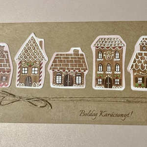 Mézeskalács házak - karácsonyi lap, nyitható, írható belsővel, Karácsony & Mikulás, Karácsonyi képeslap, Mindig is lenyűgöztek a csodás, mívesen díszített mézeskalácsok..... Karácsony idején a házikók, tem..., Meska