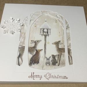 Erdei állatok- nyitható képeslap, Karácsony & Mikulás, Karácsonyi képeslap, Varázslatos téli erdő, békességes állatkákkal.....jól gondolom, hogy most sokunknak megmelengeti szí..., Meska
