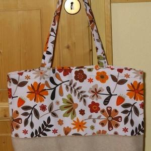 Virágos bevásárlótáska, Shopper, textiltáska, szatyor, Bevásárlás & Shopper táska, Táska & Tok, Varrás, Vidám színű bevásárlótáskát készítettem, felül narancssárga viragos, alul drapp egyszínű vászonból, ..., Meska