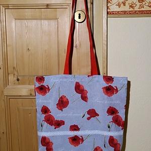 Pipacsos vászontáska , Táska, Táska, Divat & Szépség, Szatyor, Varrás, Szürke alapon piros pipacsos vászonból varrtam táskát vidám hölgyeknek. Pamut csipkével díszítettem,..., Meska