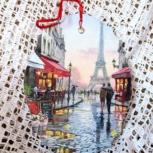 Falikép - Párizs, szerelem, Lakberendezés, Otthon & lakás, Falikép, Dekoráció, Decoupage, transzfer és szalvétatechnika, Egy ovális falapra párizsi utcarészletet dekopázsoltam, a háttérben az Eiffel toronnyal és lelakkozt..., Meska