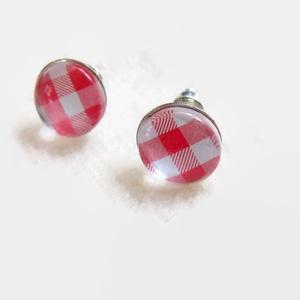 Piros kockás vintage üveglencsés nyaklánc fülbevaló szett (papmelus) - Meska.hu