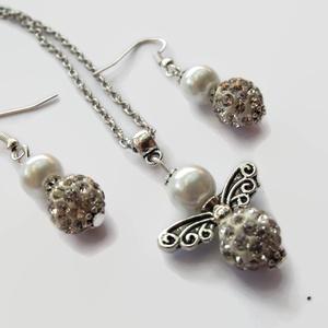 Fehér angyalka medálos szett nyaklánc fülbevaló shamballa gyönggyel (papmelus) - Meska.hu