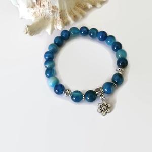 Virágos kék achát ásványkarkötő  (papmelus) - Meska.hu