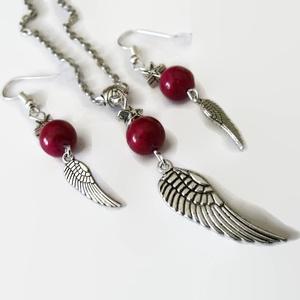 Piros fosszília ásvány angyalszárny nyaklánc fülbevaló szett (papmelus) - Meska.hu