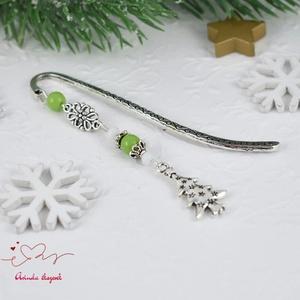 Karácsonyfás könyvjelző zöld és fehér gyöngyökkel - antik ezüst (papmelus) - Meska.hu