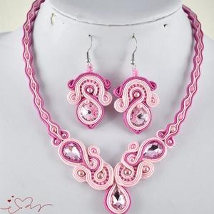 Rózsaszín elegancia sujtás nyaklánc karkötő fülbevaló szett esküvő alkalmi koszorúslány örömanya násznagy ünnepi elegáns (papmelus) - Meska.hu