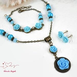 Fruzsina kék vintage virágos rózsás nyaklánc fülbevaló karkötő szett (papmelus) - Meska.hu