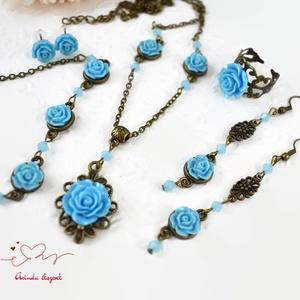 Gyöngyvér kék vintage virágos rózsás nyaklánc fülbevaló karkötő gyűrű szett (papmelus) - Meska.hu