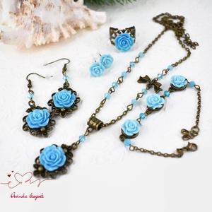 Melánia kék vintage virágos rózsás nyaklánc fülbevaló karkötő gyűrű szett (papmelus) - Meska.hu