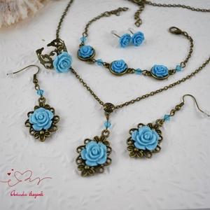 Fanni kék vintage virágos rózsás nyaklánc fülbevaló karkötő gyűrű szett (papmelus) - Meska.hu