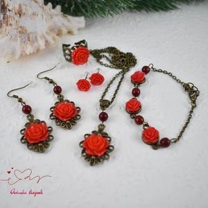 Piroska piros vintage virágos rózsás nyaklánc fülbevaló karkötő gyűrű szett (papmelus) - Meska.hu