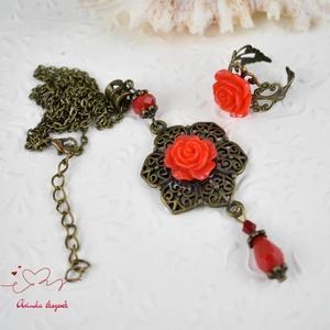 Sára piros vintage virágos rózsás nyaklánc fülbevaló szett (papmelus) - Meska.hu