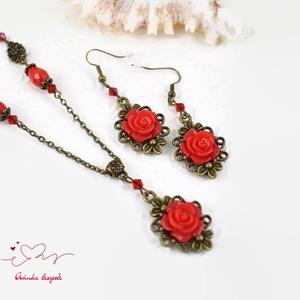 Zelma piros vintage virágos rózsás nyaklánc fülbevaló szett (papmelus) - Meska.hu
