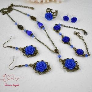 Vanda sötétkék vintage virágos rózsás nyaklánc fülbevaló karkötő gyűrű szett (papmelus) - Meska.hu