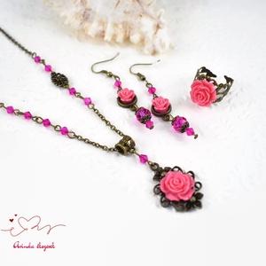 Karola korall vintage virágos rózsás nyaklánc fülbevaló karkötő szett (papmelus) - Meska.hu