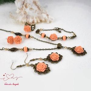 Adél barack vintage virágos rózsás nyaklánc fülbevaló karkötő gyűrű szett (papmelus) - Meska.hu