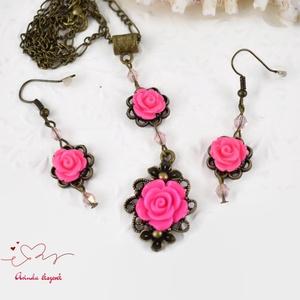 Martina pink vintage virágos rózsás nyaklánc fülbevaló szett (papmelus) - Meska.hu