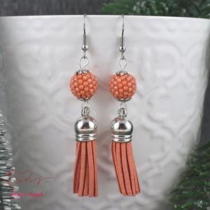 Mandarin  gyöngyös fülbevaló acél alappal (papmelus) - Meska.hu