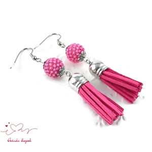 Pink gyöngyös fülbevaló acél alappal (papmelus) - Meska.hu