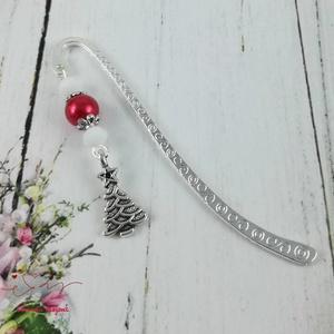Karácsonyfa könyvjelző fehér és piros gyöngyökkel - antik ezüst (papmelus) - Meska.hu