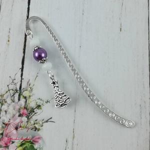 Karácsonyfa könyvjelző fehér és lila gyöngyökkel - antik ezüst (papmelus) - Meska.hu