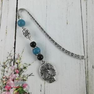 Egyedi koponyás könyvjelző fekete és kék gyöngyökkel ballagásra anyák napjára szülinapra névnapra (papmelus) - Meska.hu