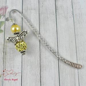 Shamballa angyalkás csillogó könyvjelző halványsárga gyöngyökkel - antik ezüst (papmelus) - Meska.hu