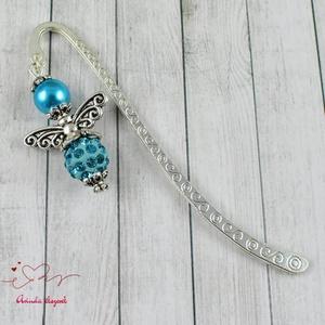Shamballa angyalkás csillogó könyvjelző kék gyöngyökkel - antik ezüst (papmelus) - Meska.hu