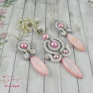 Rózsaszín álom sujtás nyaklánc fülbevaló szett (papmelus) - Meska.hu