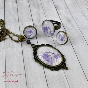 Virágos-pillangós üveglencsés vintage nyaklánc fülbevaló gyűrű szett (papmelus) - Meska.hu