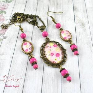 Rózsaszín álom vintage üveglencsés nyaklánc fülbevaló szett (papmelus) - Meska.hu