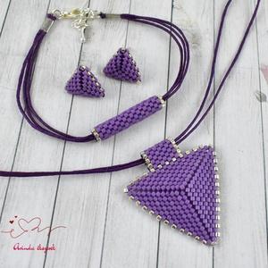 Sötétlila háromszög nyaklánc fülbevaló karkötő szett (papmelus) - Meska.hu