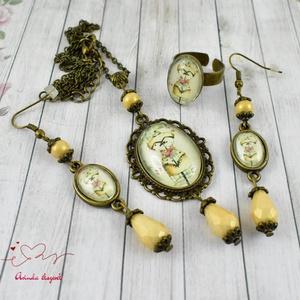 Míder vintage üveglencsés nyaklánc fülbevaló gyűrű szett (papmelus) - Meska.hu