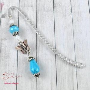 Csillogó kék pillangós könyvjelző - antik ezüst (papmelus) - Meska.hu