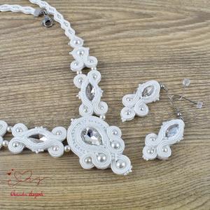 Fehér menyasszonyi esküvői ékszer sujtás nyaklánc fülbevaló szett (papmelus) - Meska.hu