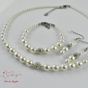 Fehér menyasszonyi esküvői gyöngysor karkötő fülbevaló kristály gömbbel (papmelus) - Meska.hu