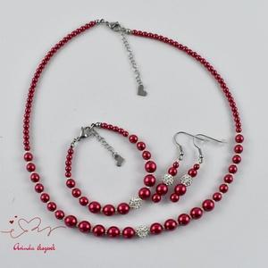 Piros menyasszonyi menyecske esküvői gyöngysor karkötő fülbevaló kristály gömbbel (papmelus) - Meska.hu