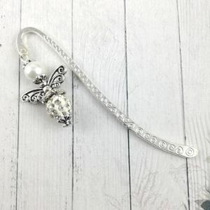 Shamballa angyalkás csillogó könyvjelző fehér gyöngyökkel - antik ezüst (papmelus) - Meska.hu