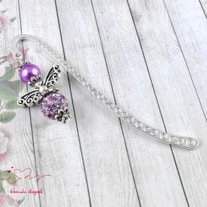 Shamballa angyalkás csillogó könyvjelző lila gyöngyökkel - antik ezüst (papmelus) - Meska.hu