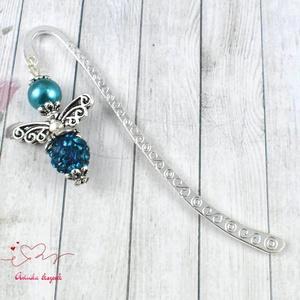 Shamballa angyalkás csillogó könyvjelző tengerzöld gyöngyökkel - antik ezüst (papmelus) - Meska.hu