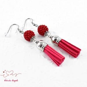 Bojtos gyöngyös paprika piros antiallergén nemesacél acél fülbevaló tavaszi nyári fülbevaló ajándék nőnek lánynak  (papmelus) - Meska.hu