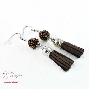 Bojtos gyöngyös csoki antiallergén nemesacél acél fülbevaló tavaszi nyári fülbevaló ajándék nőnek lánynak  (papmelus) - Meska.hu