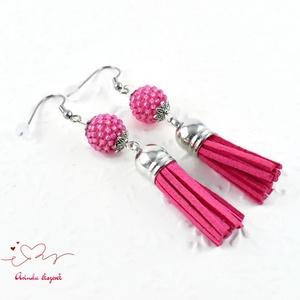 Bojtos gyöngyös pink antiallergén nemesacél acél fülbevaló tavaszi nyári fülbevaló ajándék nőnek lánynak  (papmelus) - Meska.hu