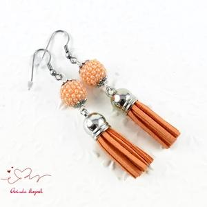 Bojtos gyöngyös barack antiallergén nemesacél acél fülbevaló tavaszi nyári fülbevaló ajándék nőnek lánynak  (papmelus) - Meska.hu