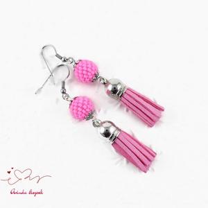Bojtos gyöngyös baby pink antiallergén nemesacél acél fülbevaló tavaszi nyári fülbevaló ajándék nőnek lánynak  (papmelus) - Meska.hu