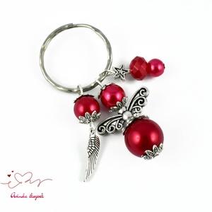 Piros angyalkás kulcstartó táskadísz anyák napja ballagás évzáró pedagógus karácsony szülinap névnap  (papmelus) - Meska.hu