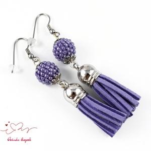 Bojtos gyöngyös lila antiallergén nemesacél acél fülbevaló tavaszi nyári fülbevaló ajándék nőnek lánynak  (papmelus) - Meska.hu